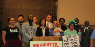 Rep Cabrera, Rep Brostoff, Sen. Larson and immigration rights advocates in Milwaukee
