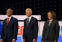 U.S. Sens. Cory Booker and Kamala Harris flank former Vice President Joe Biden at the second Democratic presidential debate in Detroit. (Photos by Andrew Roth)