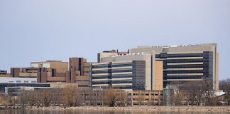 view of UW hospital across Lake Mendota