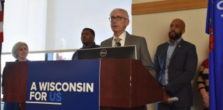 Gov. Tony Evers announces his call for a special legislative session on gun safety measures in Eau Claire on Oct. 21, 2019 (Photo courtesy of the Office of the Lt. Governor.)