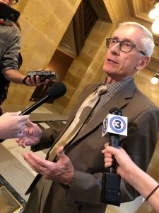 Gov. Tony Evers addresses reporters after the Senate Republicans fire his cabinet pick for ag secretary, Brad Pfaff.