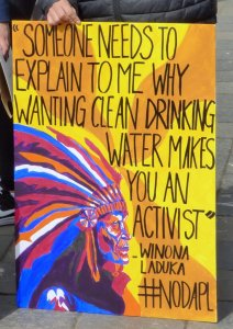 Drinking water protest sign