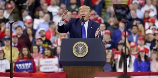 MILWAUKEE, WI - JANUARY 14: U.S. President Donald Trump speaks during a rally at UW Milwaukee's Panther Arena. Trump, who is the third president to face impeached, now faces an impending trial in the Senate. (Photo by Joshua Lott/Getty Images)