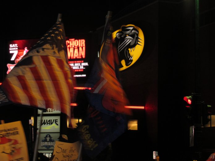 Trump flags in view of the UW-Milwaukee Panther Arena (Photo by Isiah Holmes)