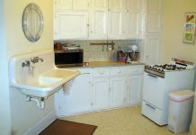 Small white, older kitchen