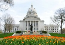 WIsconsin State Capitol with yellow and orange tulips in bloom near Lady Forward