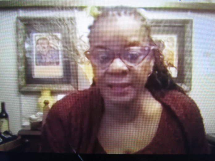 Congresswoman Gwen Moore on the Zoom call (Photo by Isiah Holmes)
