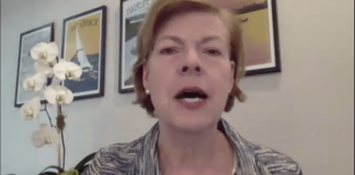 Sen. Tammy Baldwin speaks during a virtual meeting of the Senate Committee on Health, Education, Labor and Pensions. (Screenshot by Robin Bravender)