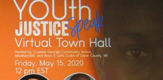 The Youth Justice Virtual Town Hall banner (Photo by Isiah Holmes)
