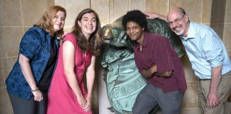 Examiner staff in front of the badger statue in the Capitol (left to right: Melanie Conklin, Ruth Conniff, Isiah Holmes and Erik Gunn. Not pictured: Henry Redman) Photo by Luther Wu for the Examiner.