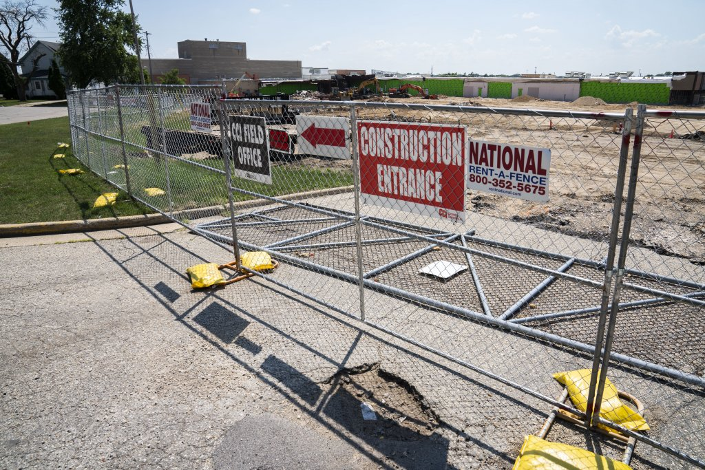 Construction has already begun on the site where the planned Lincoln Academy will be located. A Kohl's store has been demolished at the former Beloit Mall, now the Eclipse Center, owned by Hendricks Properties. (Photo by Luther Wu for Wisconsin Examiner)