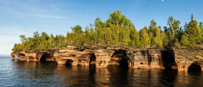 Devil's Island, Apostle Islands, Wis. The North shore of the Northernmost island of the Apostle Islands is pockmarked with sea caves and fascinating shapes that have been etched into the sandstone cliffs by wind and water.