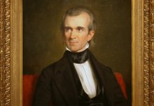 historic painting of President James Polk