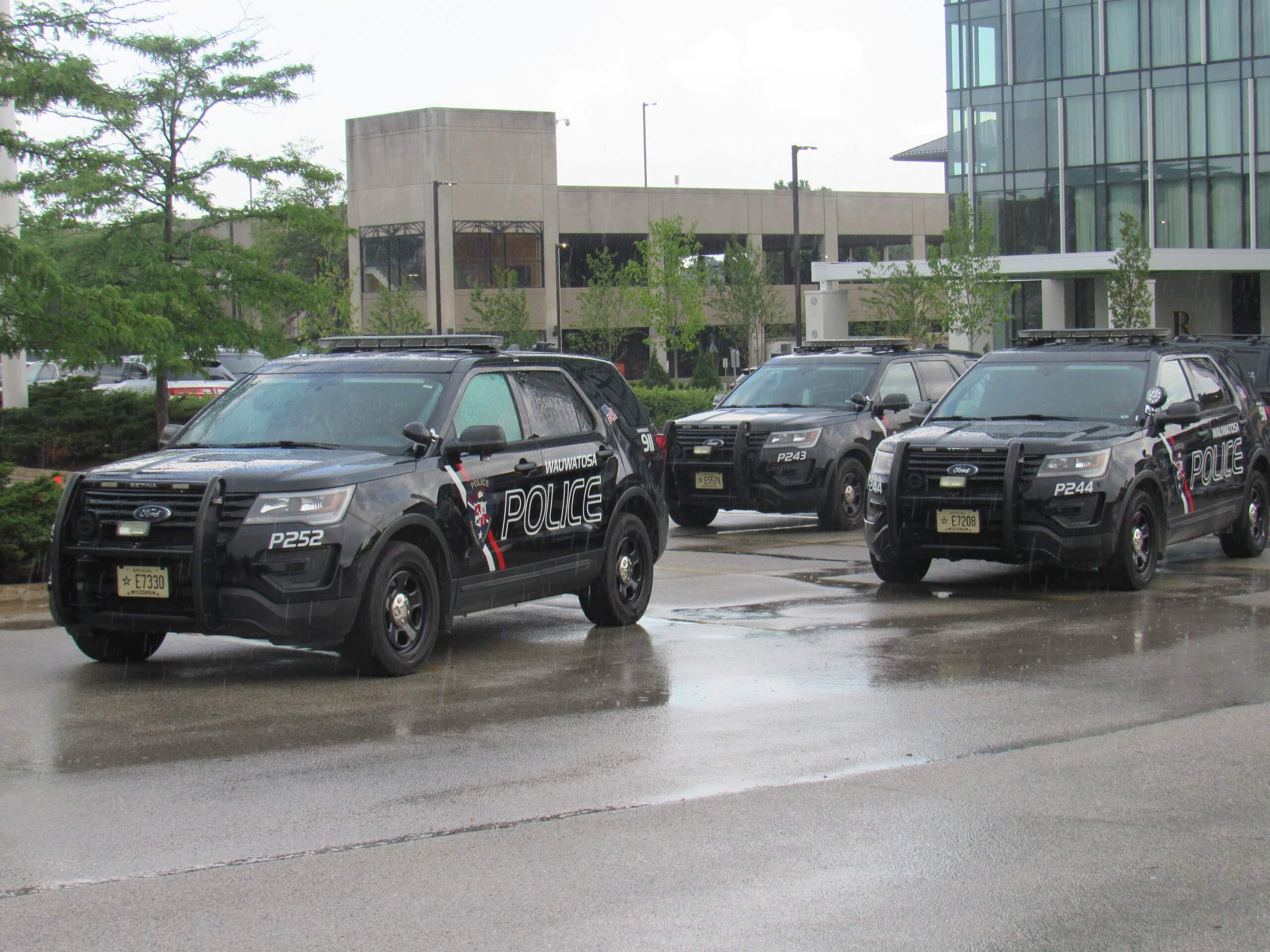 Wauwatosa Police Department squad cars responding during a standoff with protesters on July 7, 2020. (Photo by Isiah Holmes)