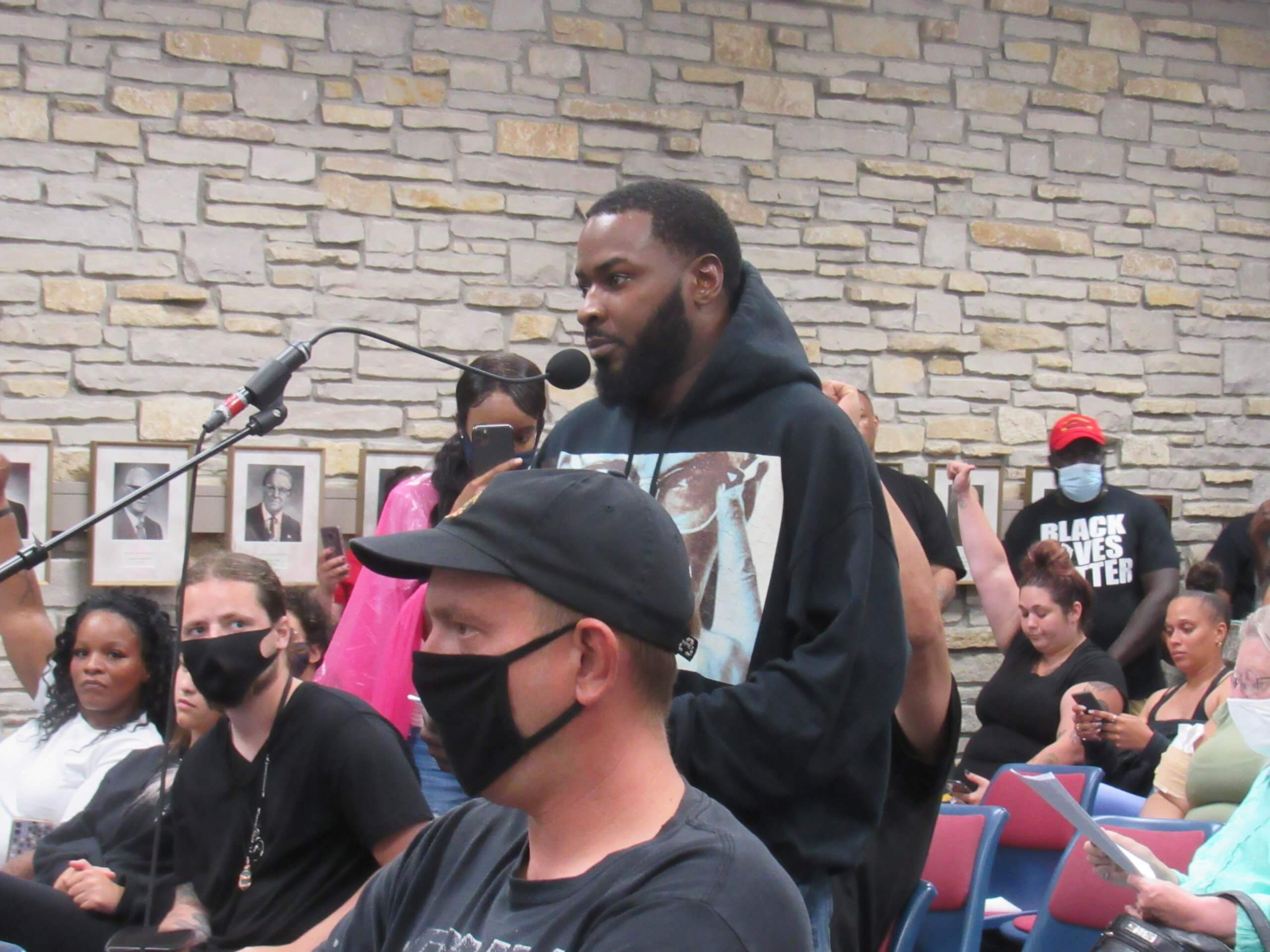 Activist Khalil Coleman speaks to the Wauwatosa Common Counsel. (Photo by Isiah Holmes)