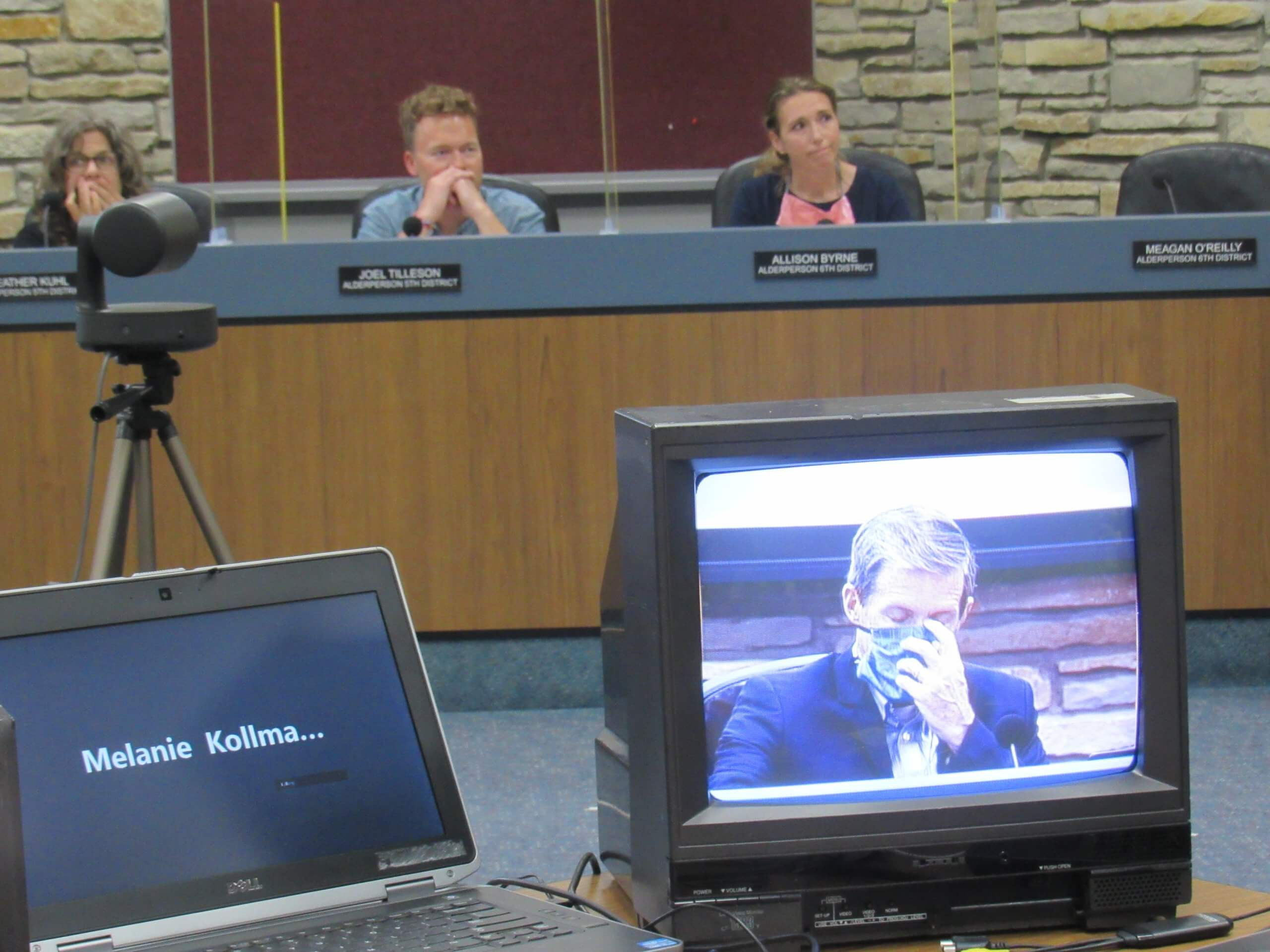 The meeting gets tense for Mayor Dennis McBride and the other city alderpeople. (Photo by Isiah Holmes)