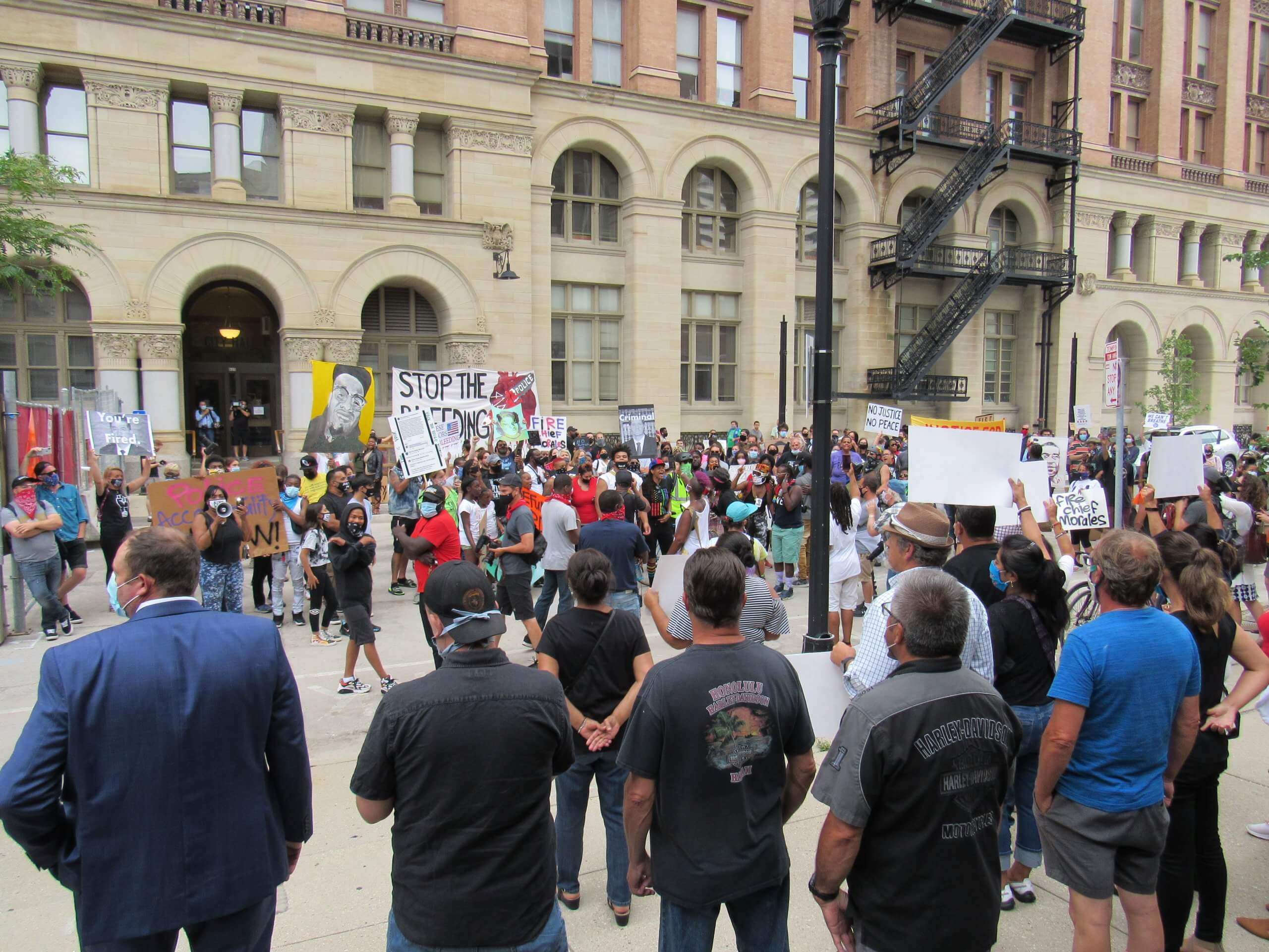 Black Lives Matter protesters gather and march to the Milwaukee City Hall. Many called for the removal of Milwaukee police Chief Alfonso Morales. (Photo by Isiah Holmes)