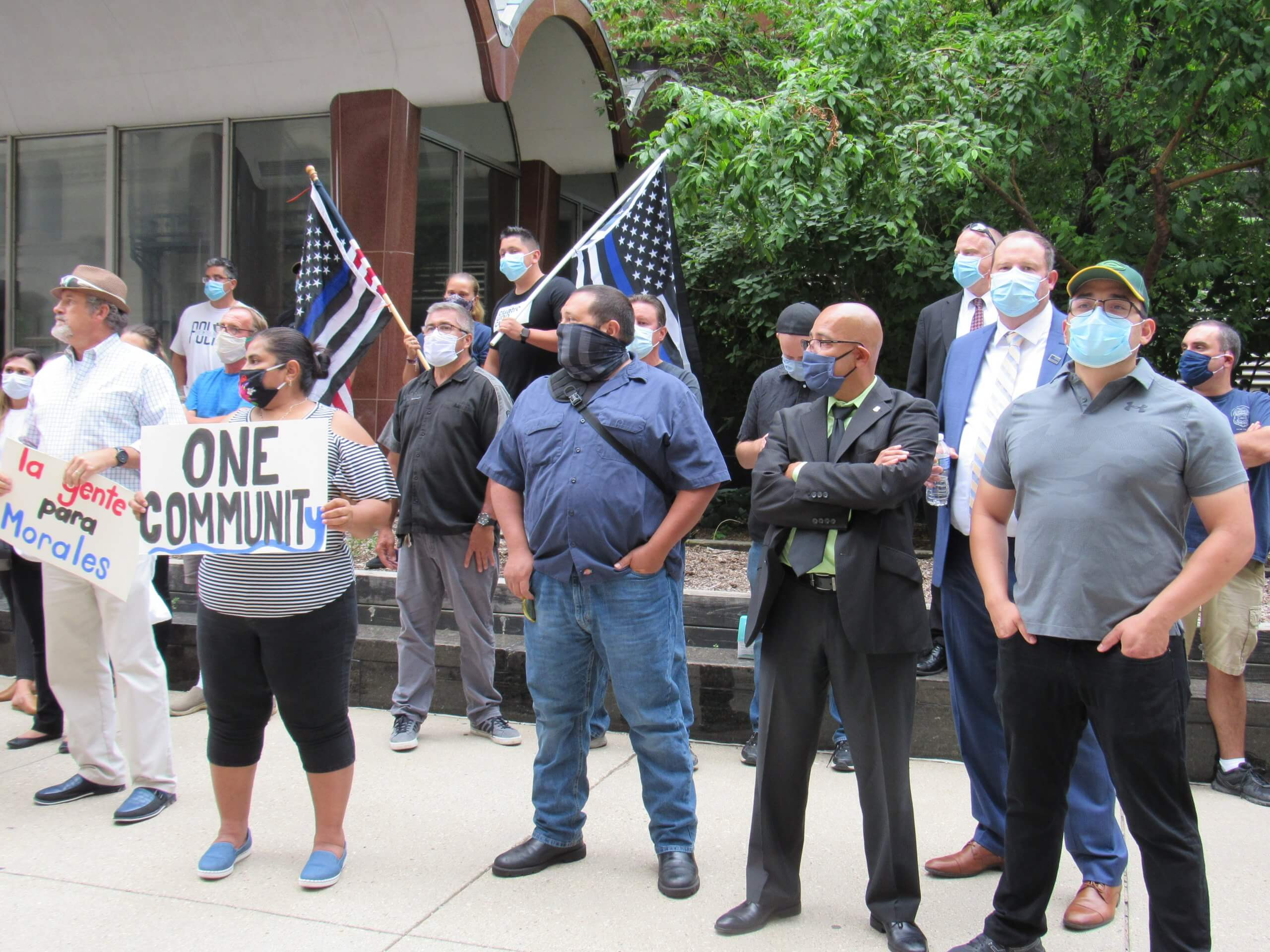 Blue Lives Matter counter-protesters stood in silence across from the Black Lives Matter protesters. Many appeared to be either current or former law enforcement. (Photo by Isiah Holmes)