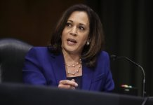 WASHINGTON, DC - U.S. Sen. Kamala Harris (D-CA) speaks during a Senate Judiciary Committee hearing to examine issues involving race and policing practices in the aftermath of the death in Minneapolis police custody of George Floyd and the civil unrest that followed. (Photo by Jonathan Ernst-Pool/Getty Images)
