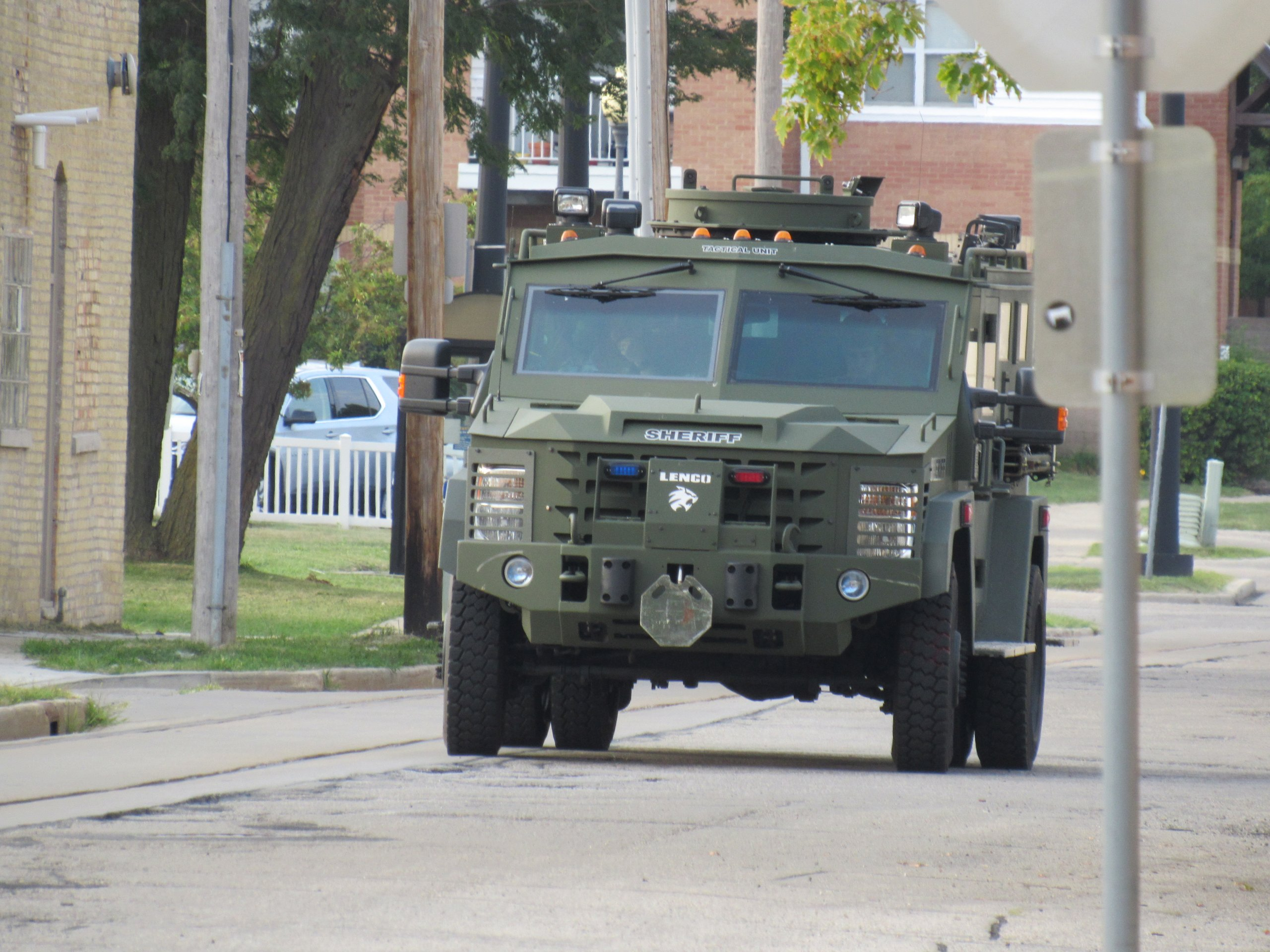 An armored police vehicle sits nearby where protesters gathered on August 24th, 2020. (Photo by Isiah Holmes)An armored police vehicle sits nearby where protesters gathered on August 24th, 2020. (Photo by Isiah Holmes)