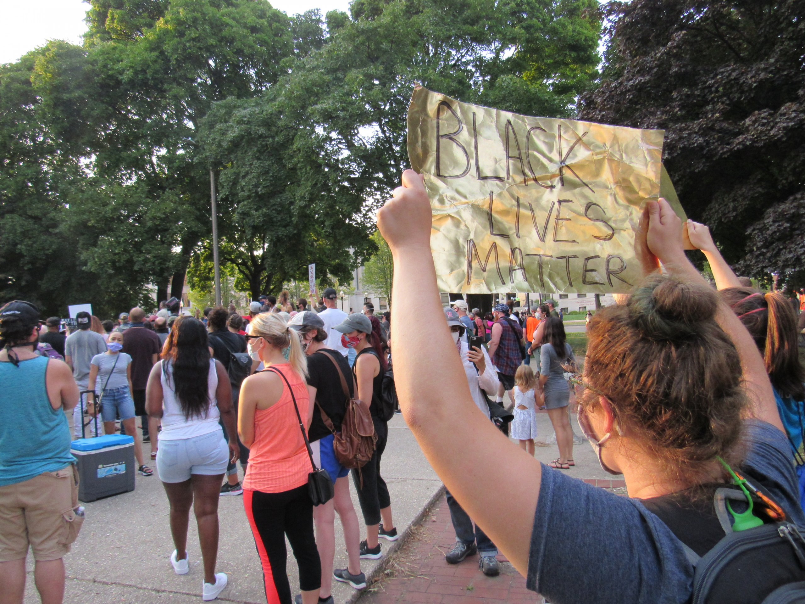 Protesters gather in Kenosha the second night of protests on August 24th, 2020. This was before the clashes with police later that night. (Photo by Isiah Holmes)