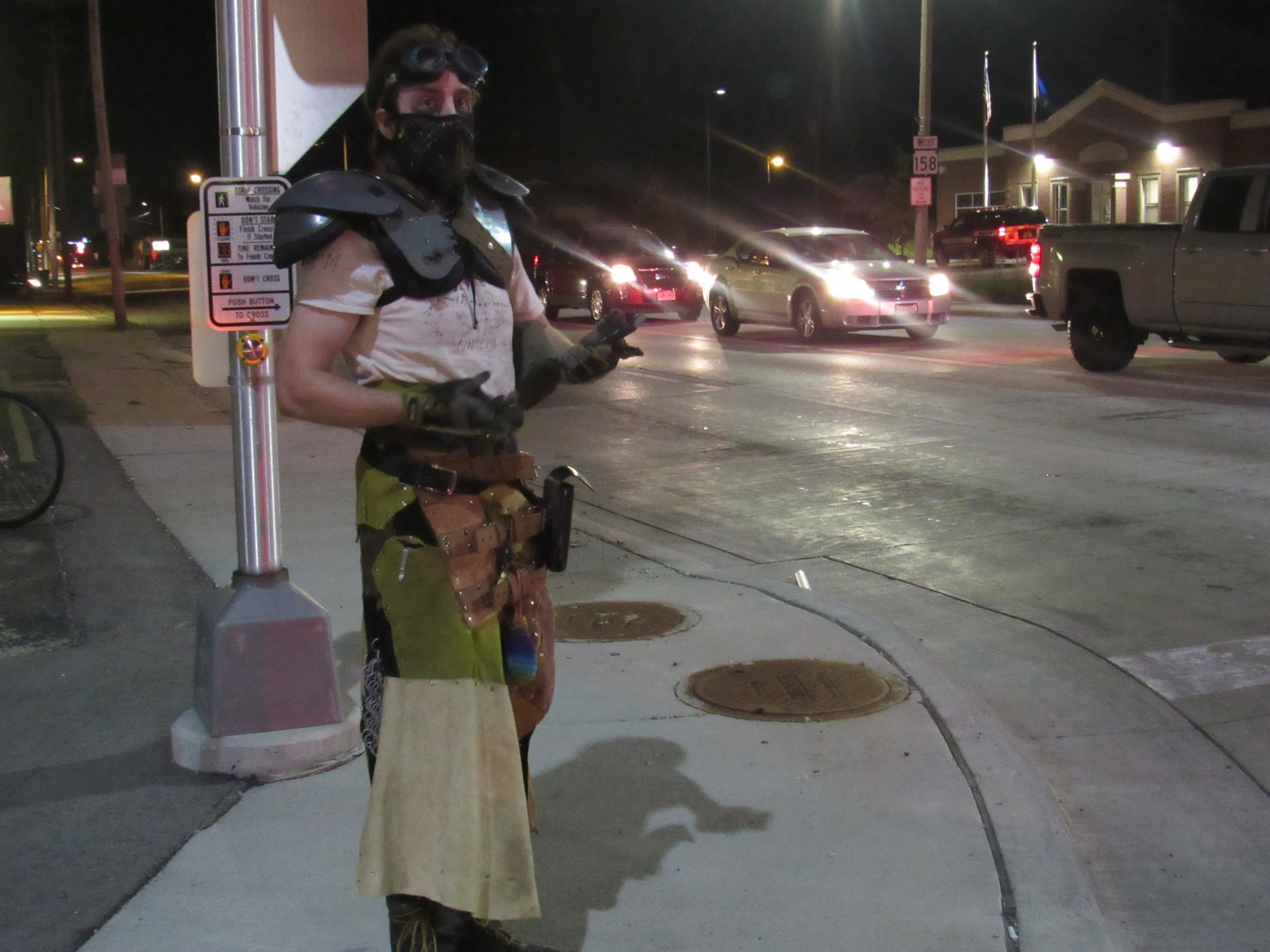 A protester wearing improvised body armor and other unusual clothing. (Photo by Isiah Holmes)