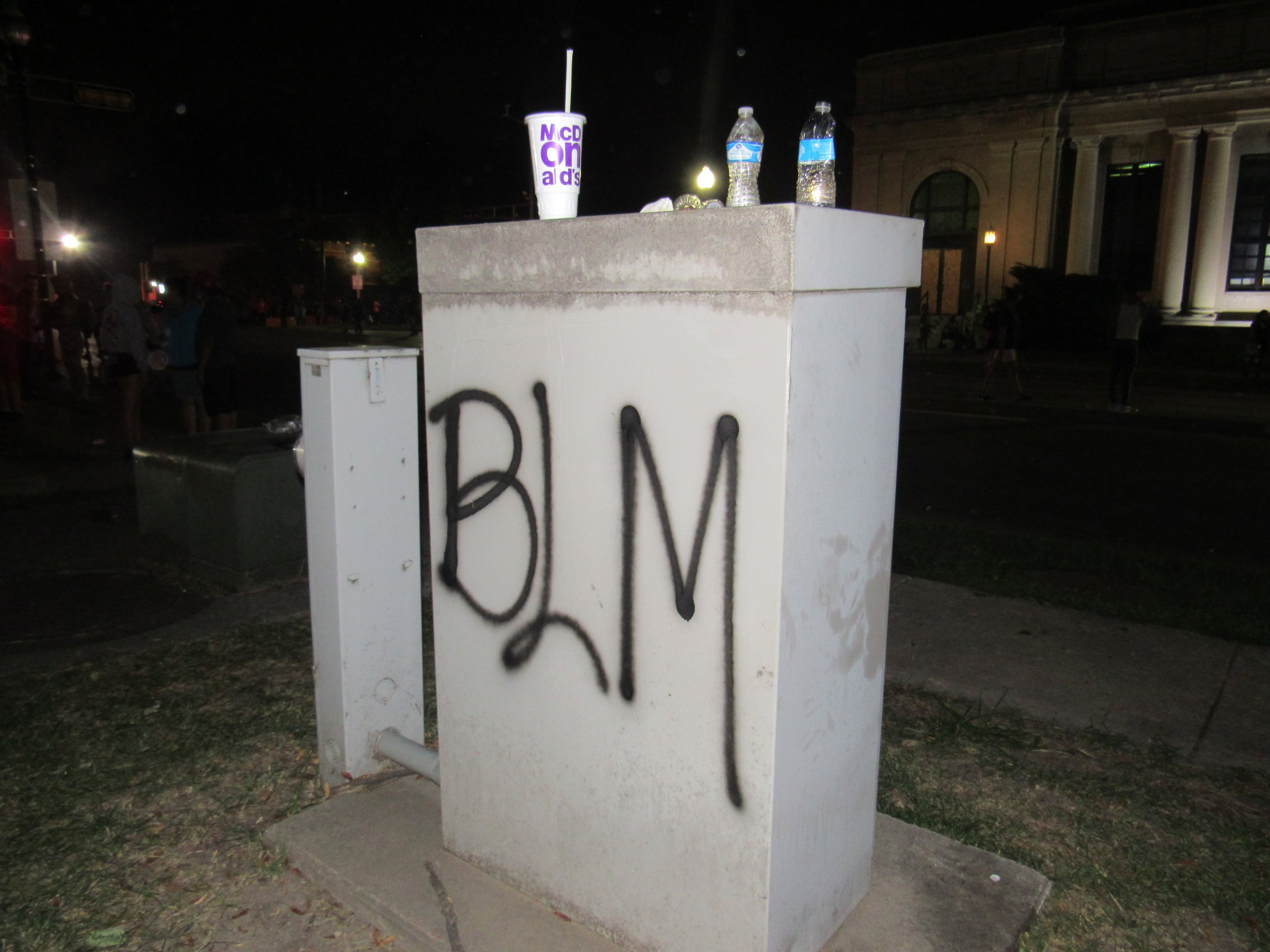 Graffiti riddled the area around the park in Kenosha. (Photo by Isiah Holmes)
