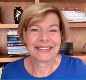 Sen. Tammy Baldwin addresses the DNC LGBTQ Caucus meeting. (Zoom meeting screenshot).
