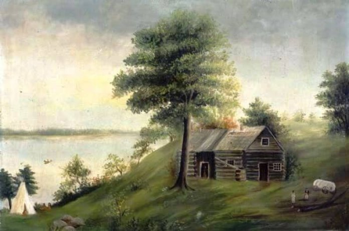 Lake Monona and the Peck cabin, site of Madison's inaugural Thanksgiving meal, in 1838 (note teepee at left). But Native Americans and Europeans first met in Wisconsin to give eat and thanks two centuries earlier, following a dramatic rescue. (Wisconsin Historical Society: Image 2859)