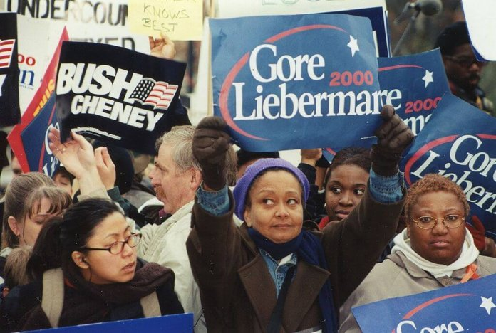 Protesters outside the U.S. Supreme Court in 2000