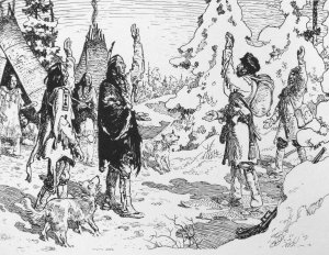 Radisson enters a Native American camp, one year after his dramatic rescue by the Ottawa. (Charles William Jeffereys. Public domain)