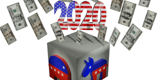 Cash flowing into a ballot box with Democratic donkey and Republican elephant Image by conolan from Pixabay