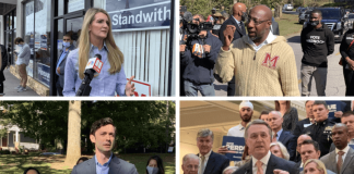 Political action committees are getting ready to spread their influence in Georgia's contests to decide control of the U.S. Senate. Clockwise from top left: Sen. Kelly Loeffler, Rev. Raphael Warnock, Sen. David Perdue and Jon Ossoff. Photos by Georgia Recorder staff