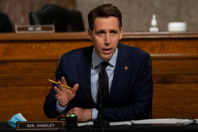 Sen. Josh Hawley, (R-MO), speaks during a Senate Judiciary Committee hearing on