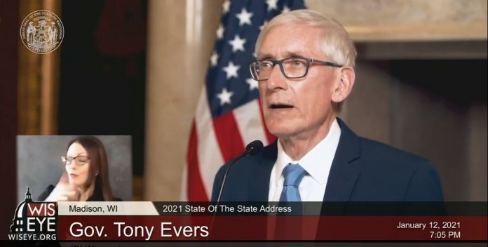 Gov. Tony Evers gives his State of the State speech 1/12/21 (WisEye)