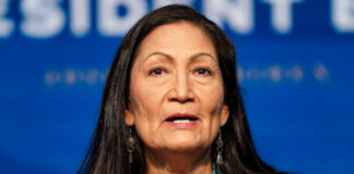 Nominee for Secretary of Interior, Congresswoman Deb Haaland, speaks after President-elect Joe Biden announced his climate and energy appointments at the Queen theater on Dec. 19, 2020 in Wilmington, Delaware. Haaland is the first Native American nominated to serve on the presidential cabinet. (Photo by Joshua Roberts/Getty Images)