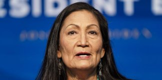 WILMINGTON, DE - DECEMBER 19: Nominee for Secretary of Interior, Congresswoman Deb Haaland, speaks after President-elect Joe Biden announced his climate and energy appointments at the Queen theater on December 19, 2020 in Wilmington, Delaware. Haaland is the first Native American nominated to serve on the presidential cabinet. (Photo by Joshua Roberts/Getty Images)