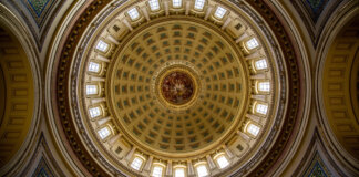 Wisconsin's Capitol dome from the inside - looking up at the ceiling mural