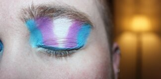 Eye with shadow in the colors of the transgender flag