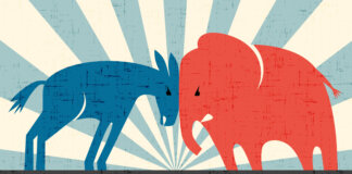Democratic donkey and Republican elephant butting heads.