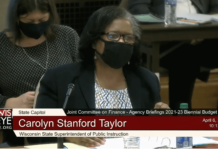 State Superintendent of Public Instruction Carolyn Stanford Taylor testifies before the Legislature's Joint Finance Committee on April 6, 2021 (Screenshot | WisconsinEye)