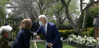 President Joe Biden elbow bumps with Gabby Giffords at a White House gun violence event announcing (Photo courtesy of the White House)